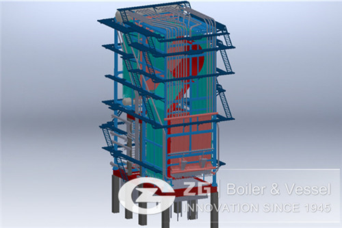 Biomass circulating fluidized bed boiler for paper industry